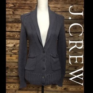 J Crew Gray Knit Button Up Sweater With Pockets